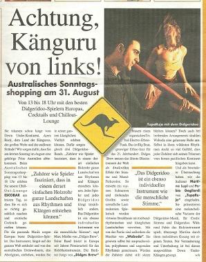 """Articolo sul concerto all' """"Australischer Sonntag"""" - Berlino"""