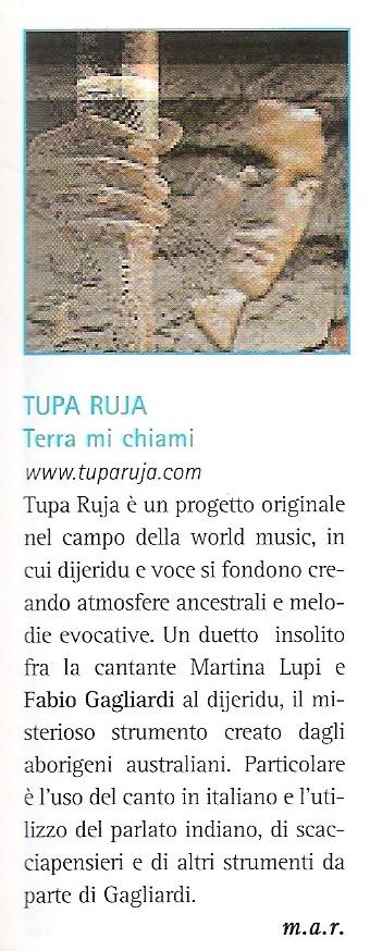 """Recensione del CD """"Terra Mi Chiami"""" sulla rivista """"Percussioni"""""""