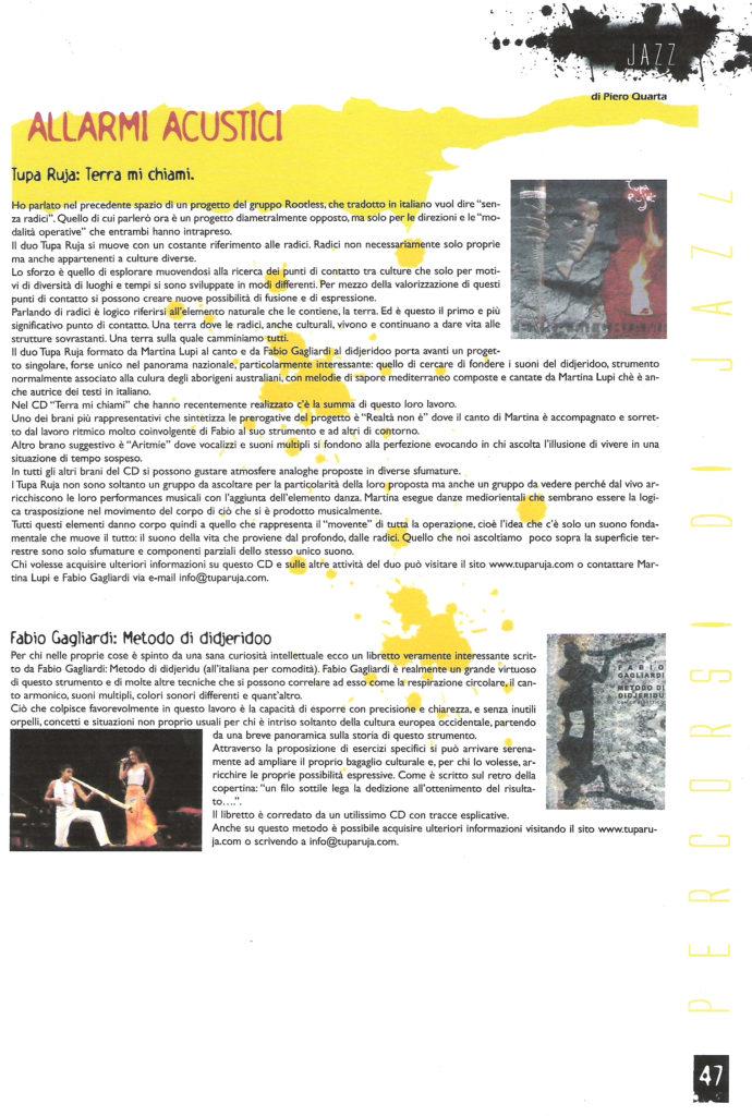 """Recensione del CD """"Terra Mi Chiami"""" e del """"Metodo di Didjeridu"""" sulla rivista """"Prove Aperte"""""""