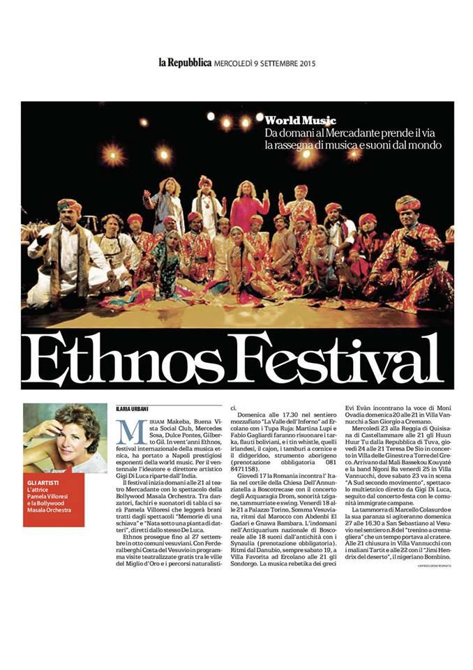 """Articolo """"Ethnos Festival"""" su """"La Repubblica"""""""