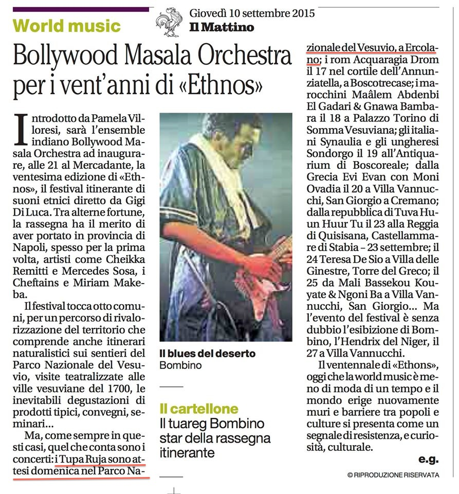 """Articolo """"Ethnos Festival"""" sul giornale """"Il Mattino"""""""