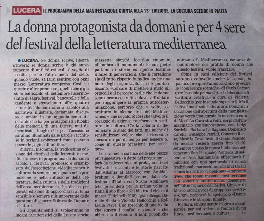 """Articolo sul concerto al """"Festival della Letteratura Mediterranea"""" di Lucera"""