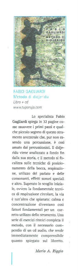 """Recensione del libro didattico """"Metodo di Didjeridu"""" sulla rivista """"Percussioni"""""""
