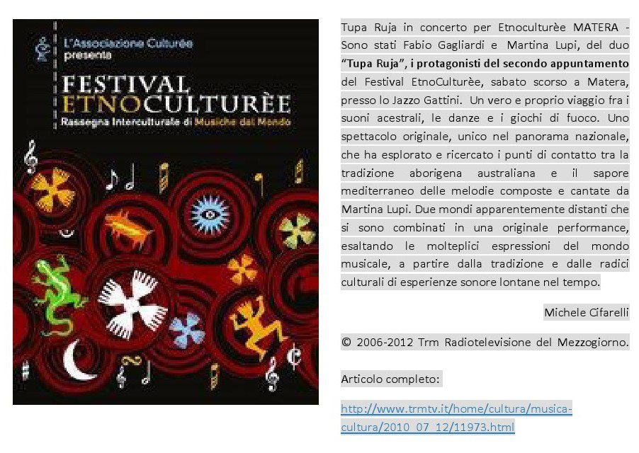 Articolo dopo il concerto all' EtnoCulturèe Festival di Matera