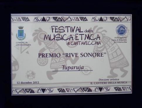 """Premio """"Rive Sonore"""" in occasione del decennale del Festival della Musica Etnica di Civitavecchia"""